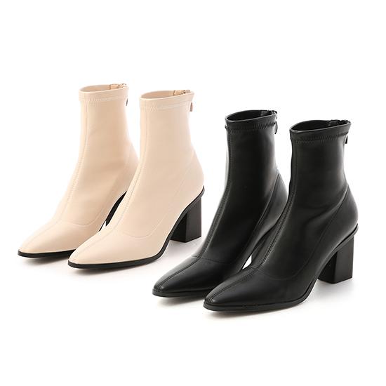 Black Stacked Heel Ankle Socks Boots Black