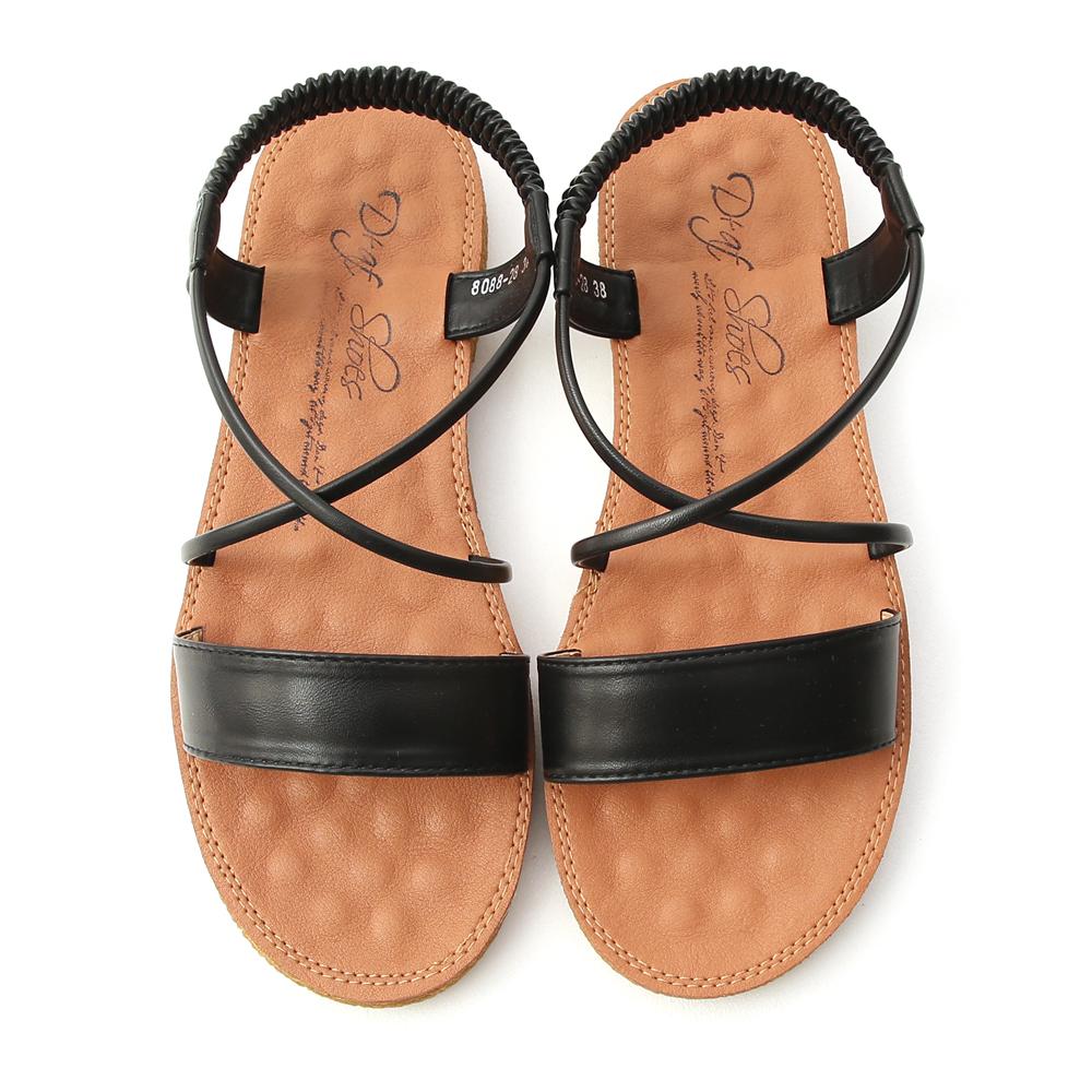 Cross Strap Flat Sandals Black