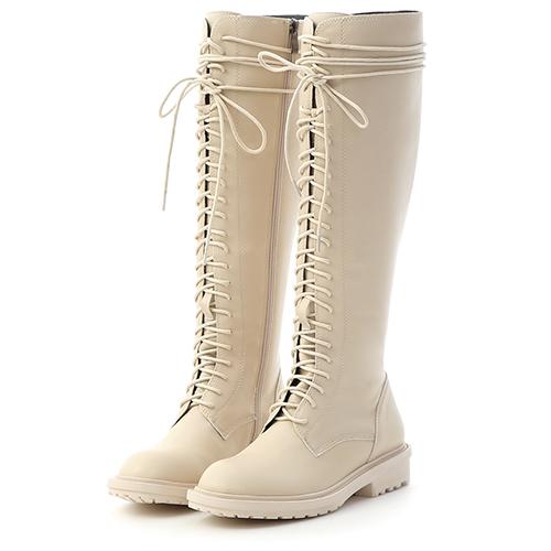D+AF 街拍潮模.圓頭綁帶長筒馬汀靴(白)
