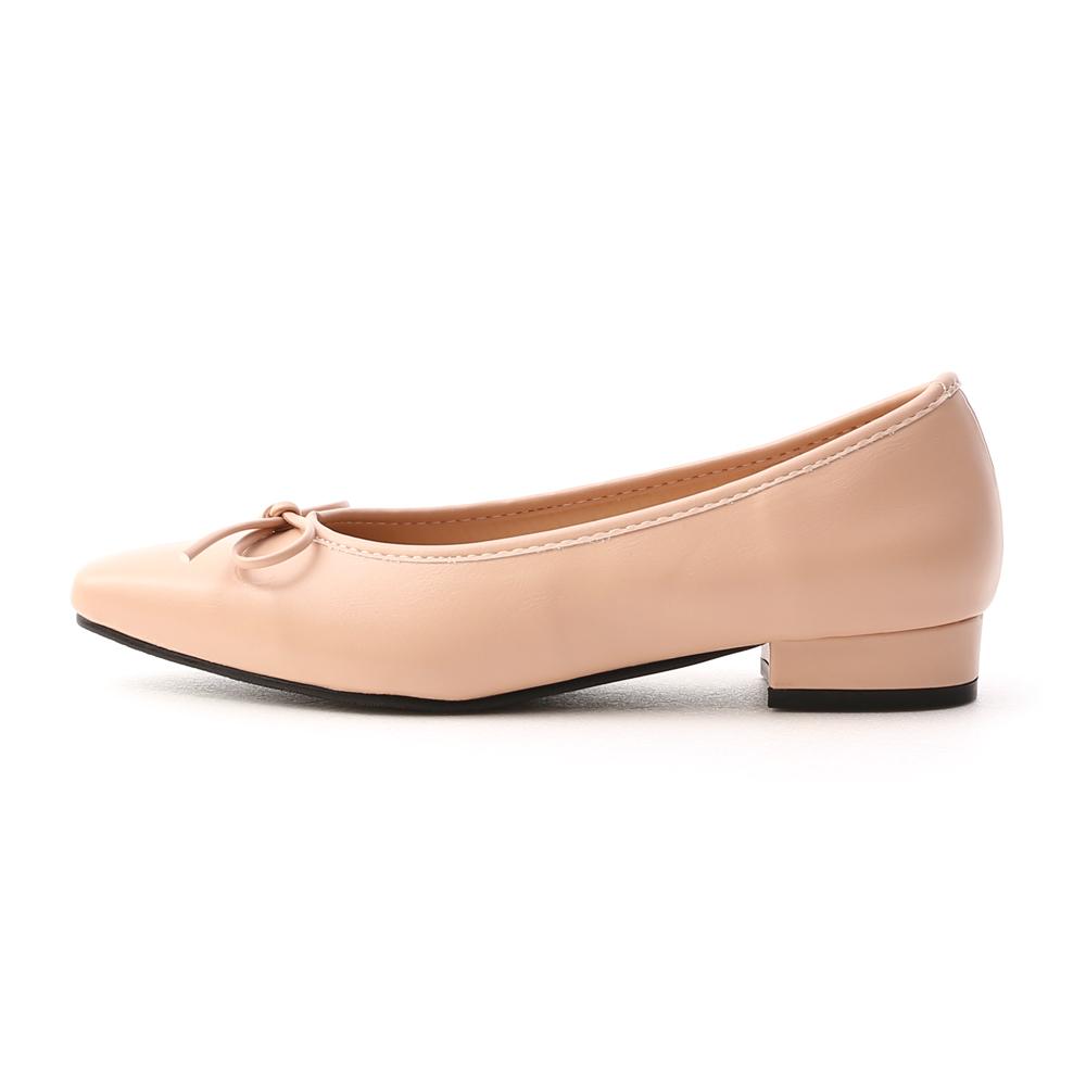 漫步女孩.尖頭低跟芭蕾娃娃鞋 裸膚粉