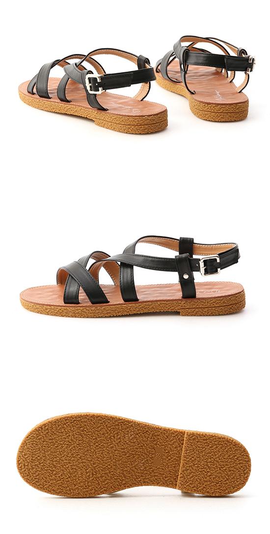 Cross Strap Faux Leather Sandals Black