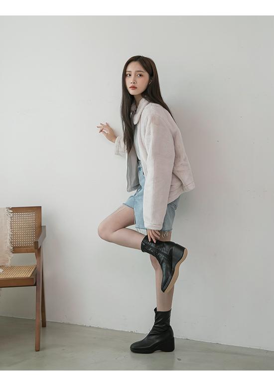 Square Toe Wedge Socks Boots Black