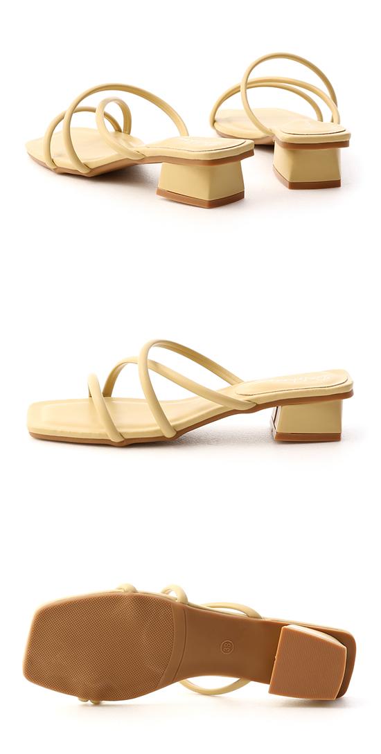 清新柔和.立體細帶低跟涼鞋 蛋蜜黃