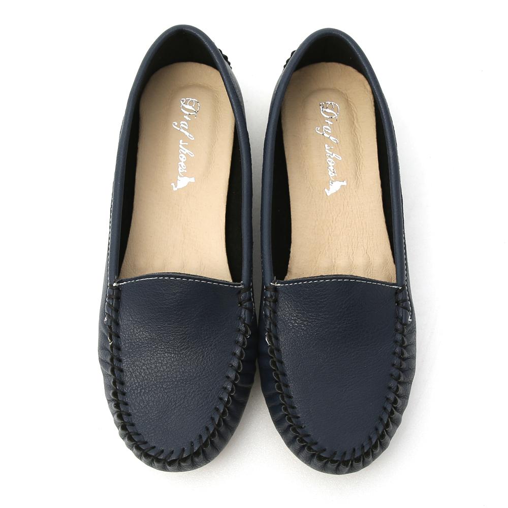舒適首選.MIT素面莫卡辛豆豆鞋 個性藍