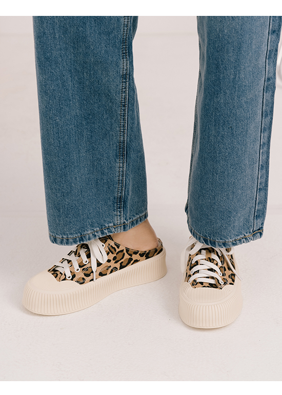 Thick Sole Canvas Mules Sneakers Leopard print