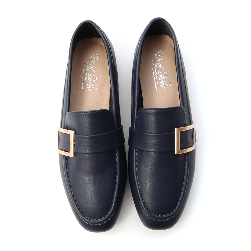 Gold Buckle Loafers Blue