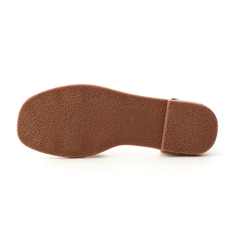 古著品味.層次交叉T字編織涼鞋 象牙米白