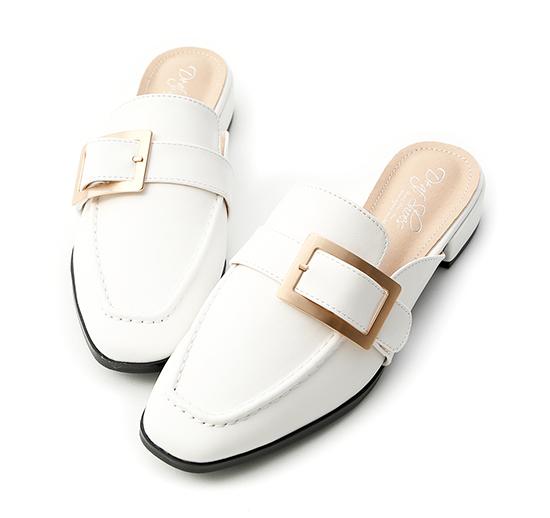 Elegant Square Ring Low Heel Mules White