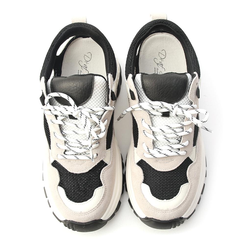 街拍焦點.真皮拼接後挖空老爹鞋 時尚黑
