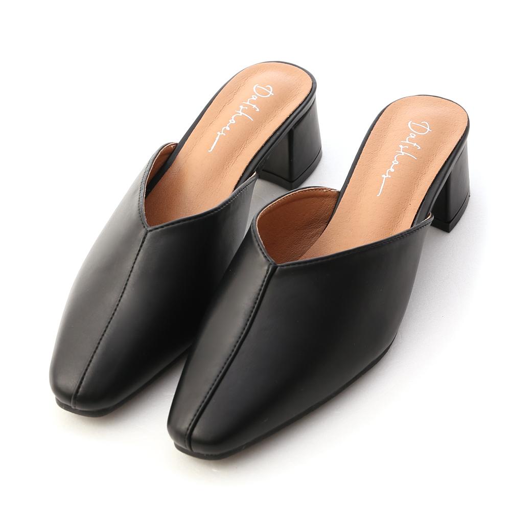 秋氛印象.V口剪裁中跟穆勒鞋 時尚黑