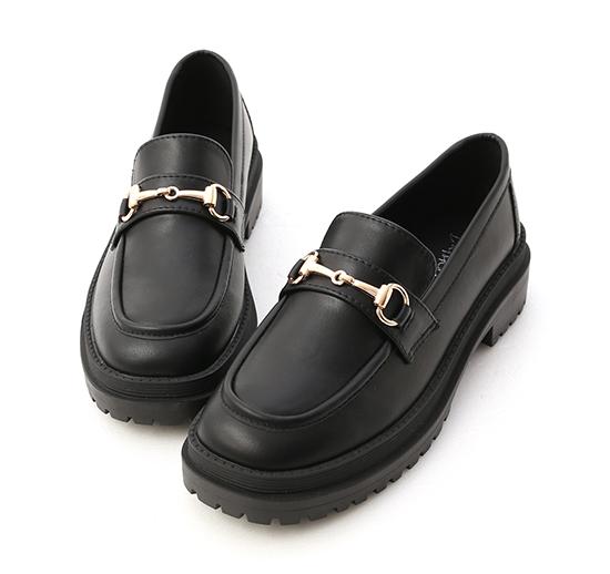 復刻經典.鬆糕底馬銜釦樂福鞋 時尚黑