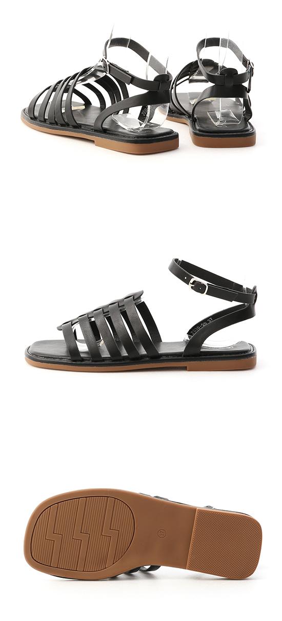 潮流特色.魚骨編織平底羅馬涼鞋 時尚黑