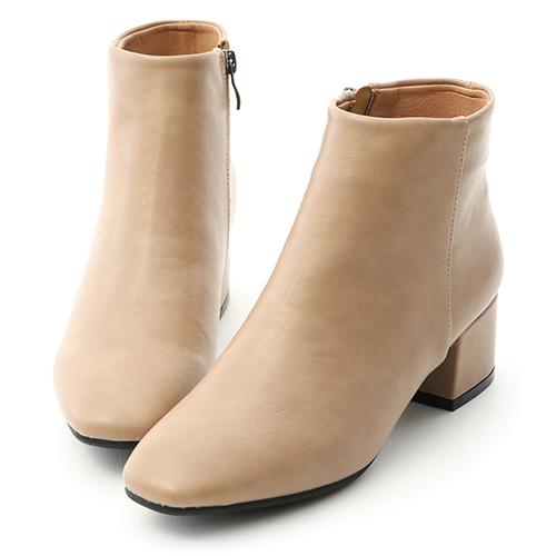 俐落焦點.極簡素面方頭低跟短靴