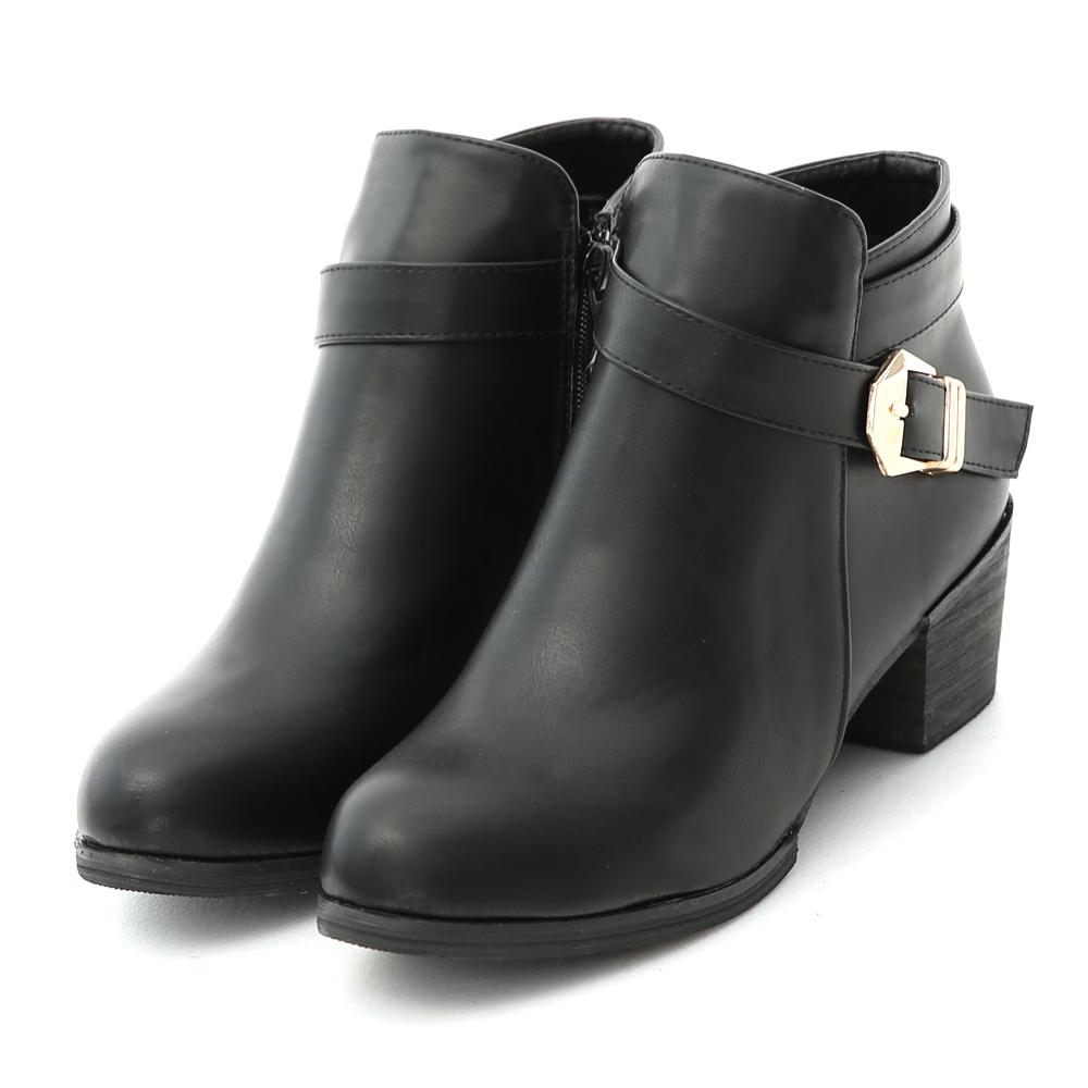 金屬釦環及踝粗跟短靴