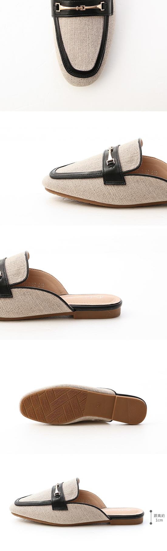 愜意經典.馬銜釦拼接平底穆勒鞋 時尚黑