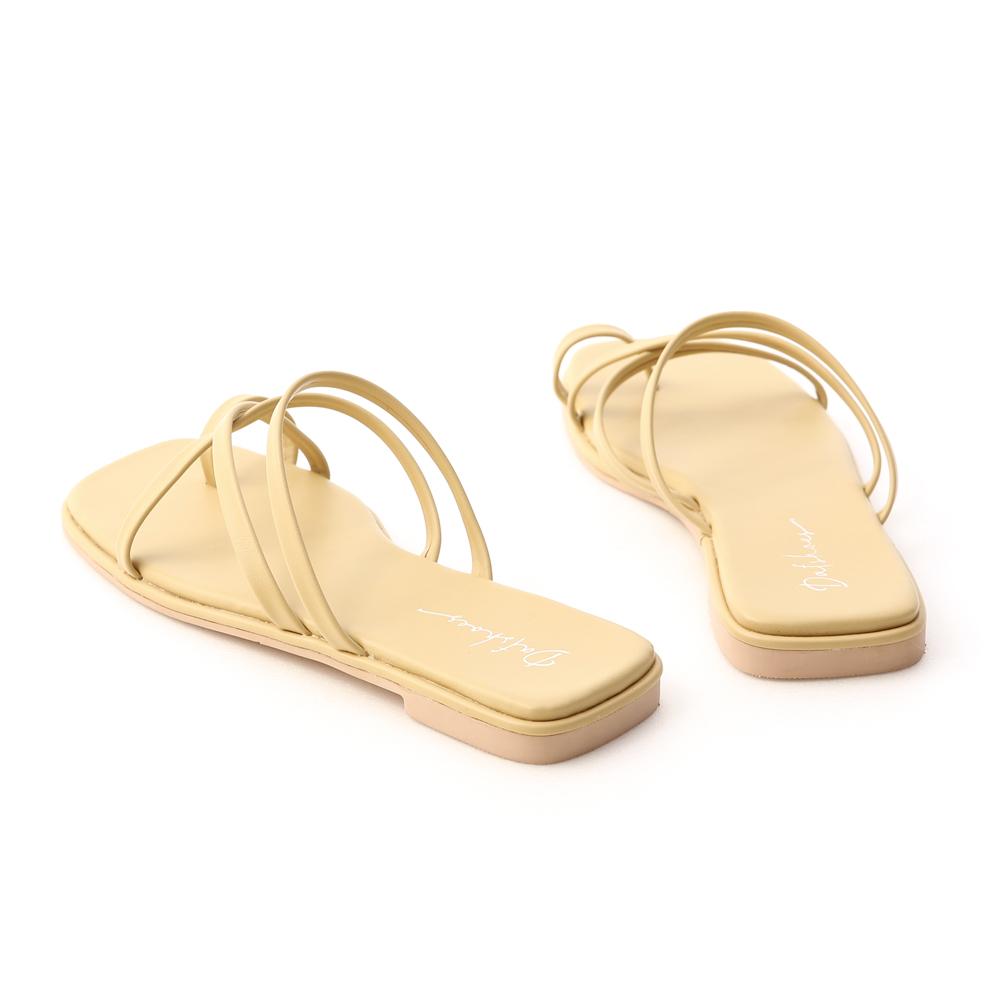 涼感假期.交叉細帶套指平底涼鞋 奶油黃