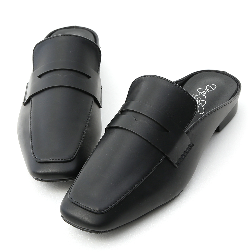 Classic Square Toe Flat Mules Black