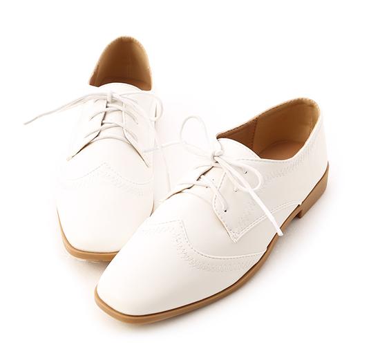 紳士主張.拷克車線綁帶牛津鞋 人氣白