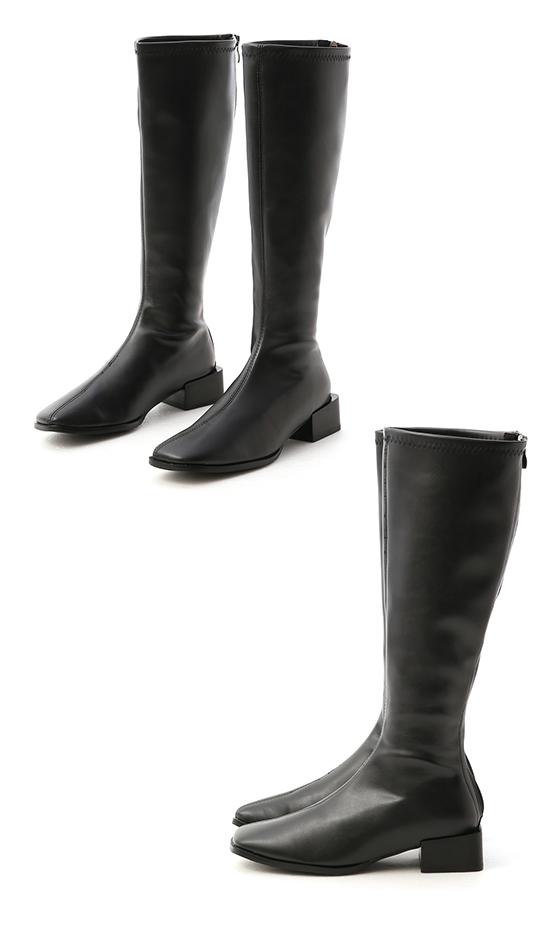 Square Toe Block Heel Knee-Height Boots Black