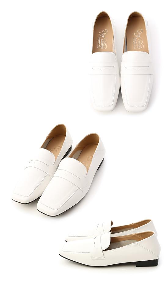 紳士印象.超軟皮革方頭樂福鞋 人氣白