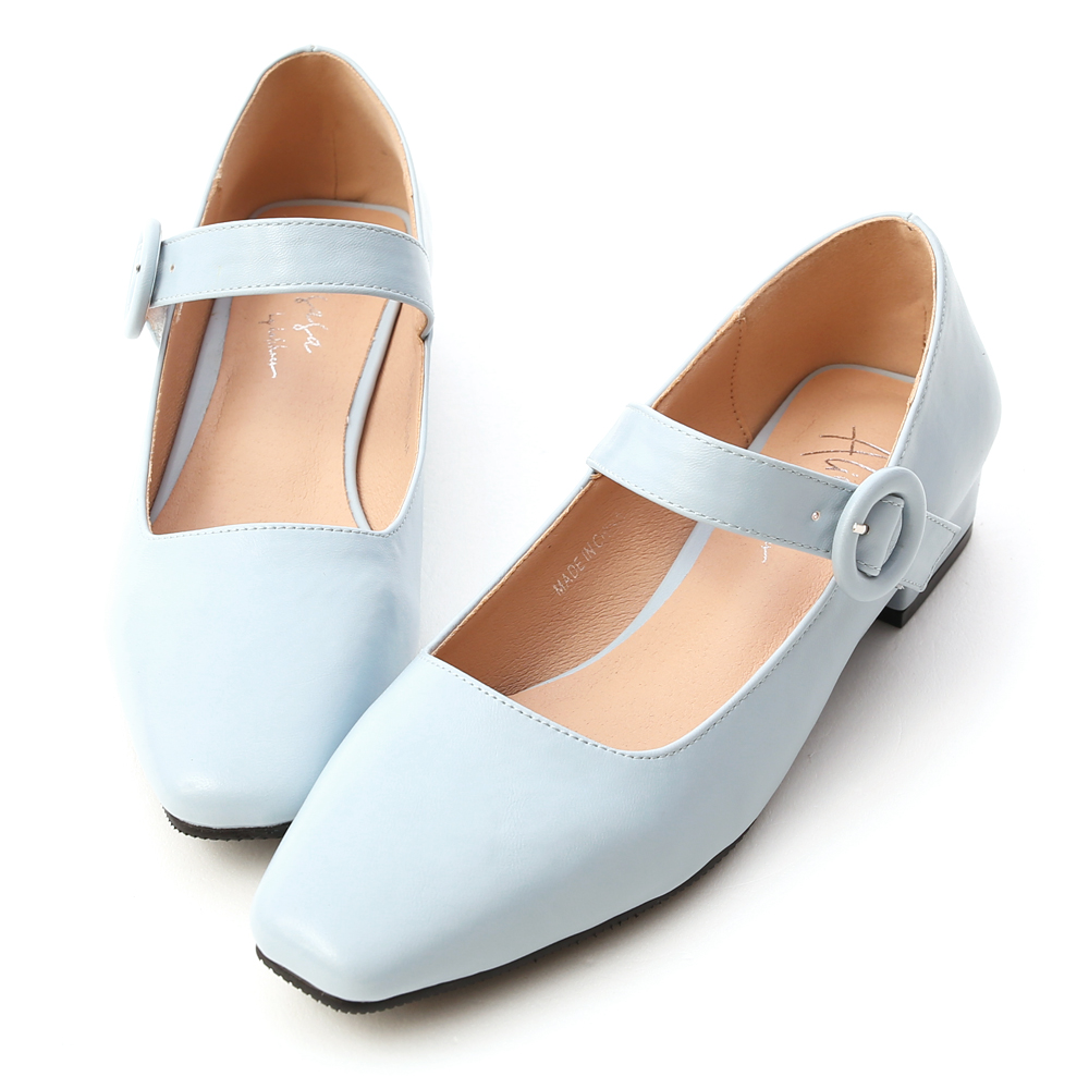 Square Toe Low Heel Mary Jane Shoes Serenity Blue