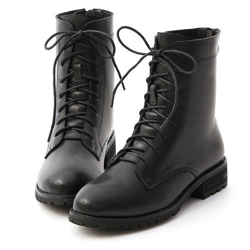 D+AF 俐落酷感.後拉鍊綁帶中筒馬汀靴