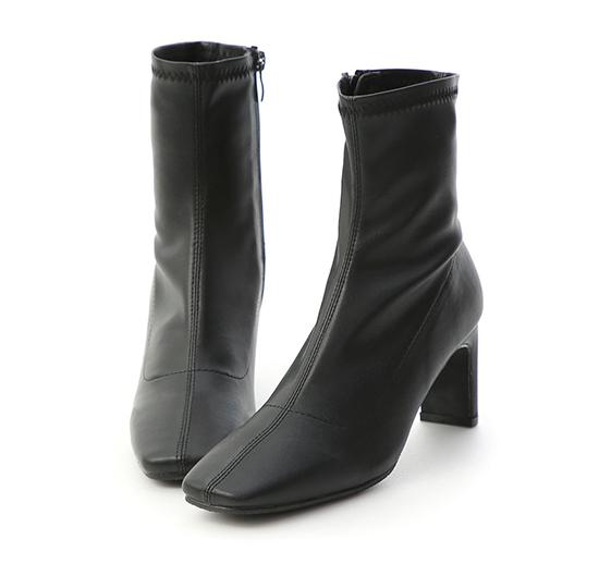時尚魅力.復古方頭車線扁跟襪靴 時尚黑