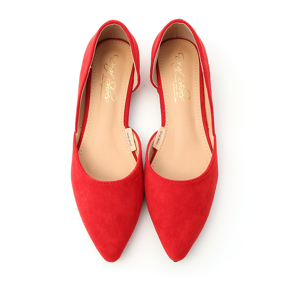 Faux Suede Pointed Toe D'orsay Shoes Red
