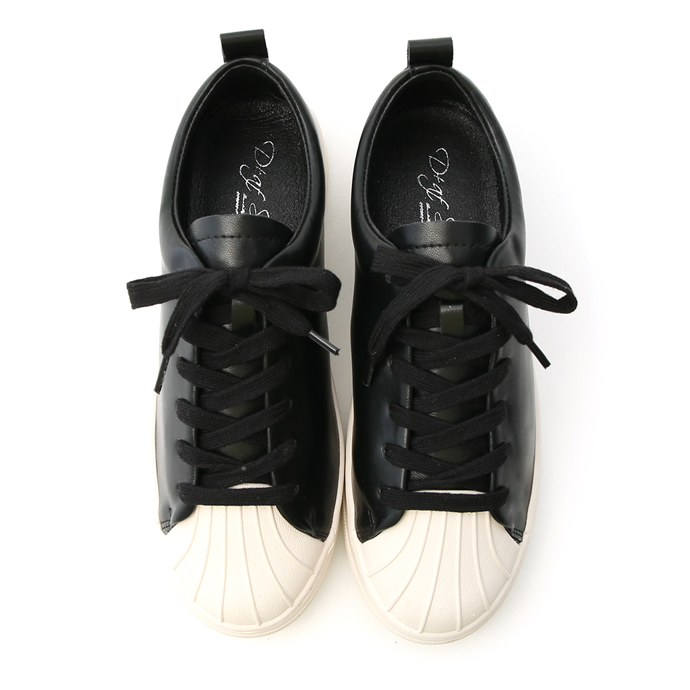 Shell Toe Lace-up Casual Shoes Black