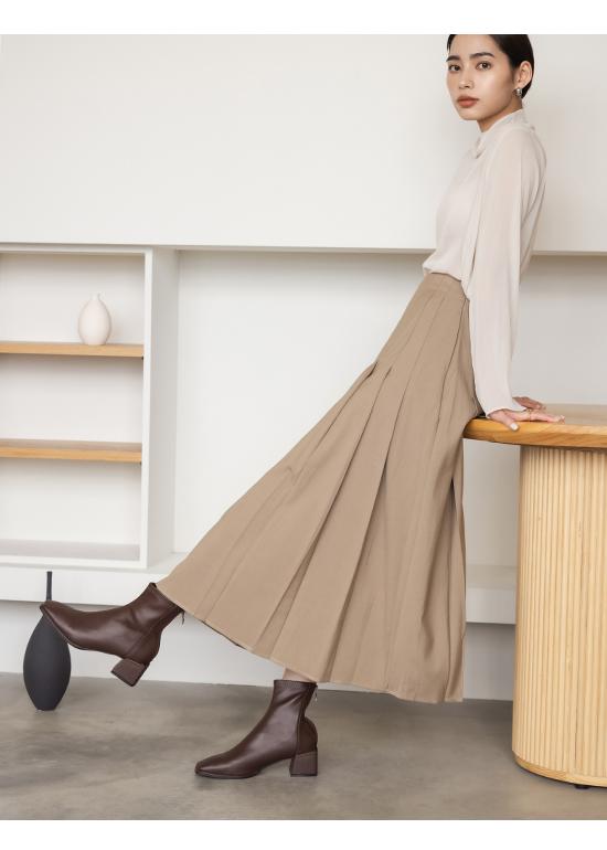 極簡時尚.素面方頭積木跟襪靴 復古咖