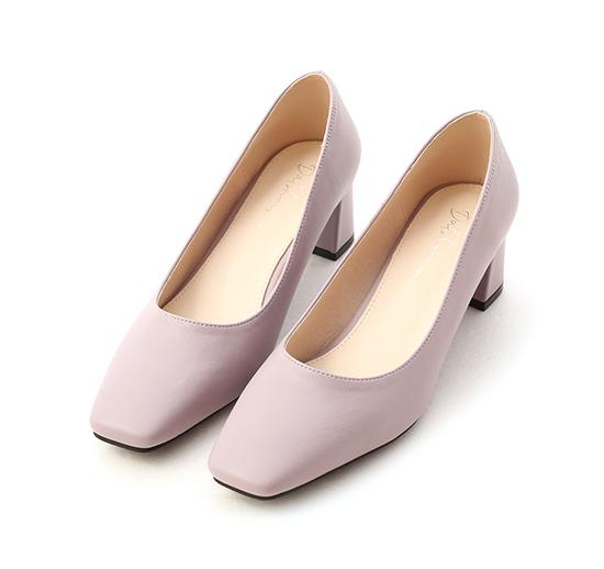 輕透春氛.素面方頭中跟鞋 薰衣紫