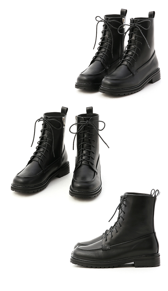 British Style Lace-Up Ankle Boots Black