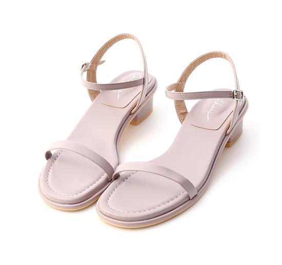 玩美潮流.一字細帶低跟涼鞋 薰衣紫