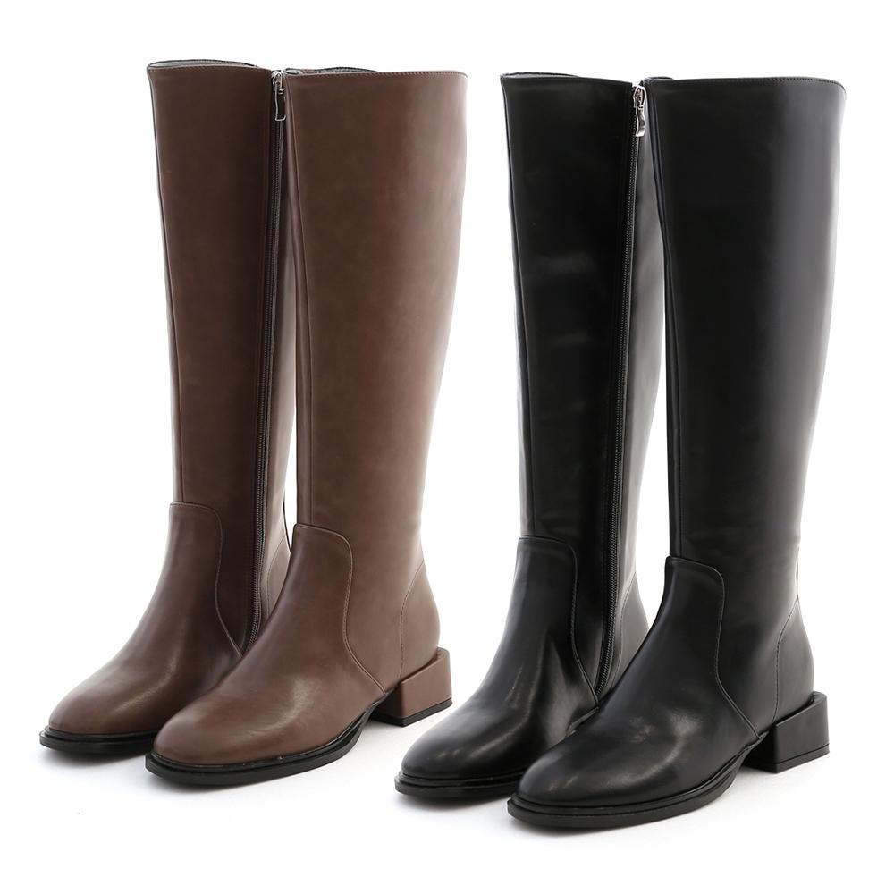經典話題.筆挺積木跟膝下長靴 時尚黑