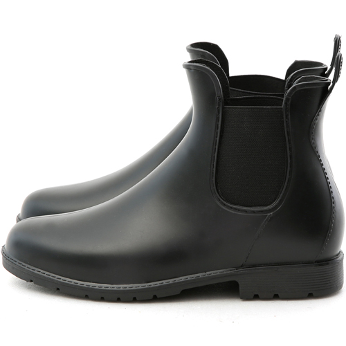 D+AF 日系風格.側鬆緊切爾西短筒雨靴