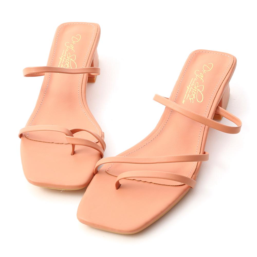 專屬夏日.不對稱設計低跟涼鞋 珊瑚橘