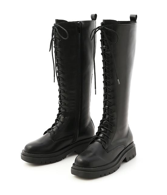 勁酷時尚.鬆糕底綁帶馬汀長靴 時尚黑