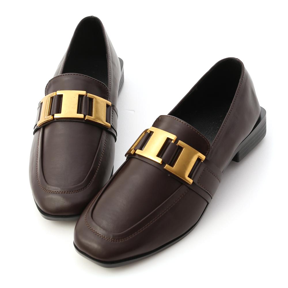 英式貴族.工字質感金屬釦樂福鞋 經典咖