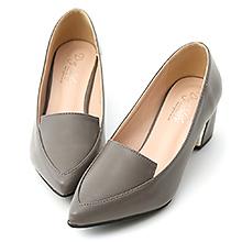 D+AF  知性風格.素面金屬跟尖頭跟鞋