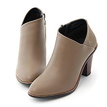 D+AF 優雅風尚.拼接設計側V口高跟短靴