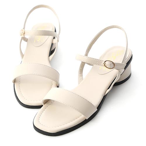 韓國同步.一字繫踝橢圓跟涼鞋