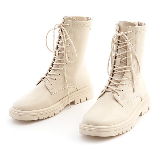 酷感百搭.軟皮革綁帶馬汀短靴 香草米白