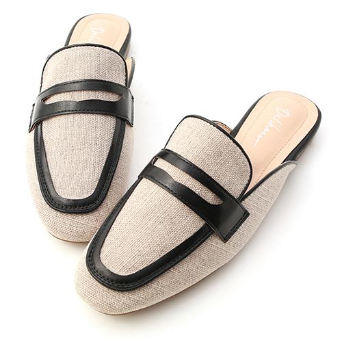 香榭風尚.異素材拼接撞色穆勒鞋