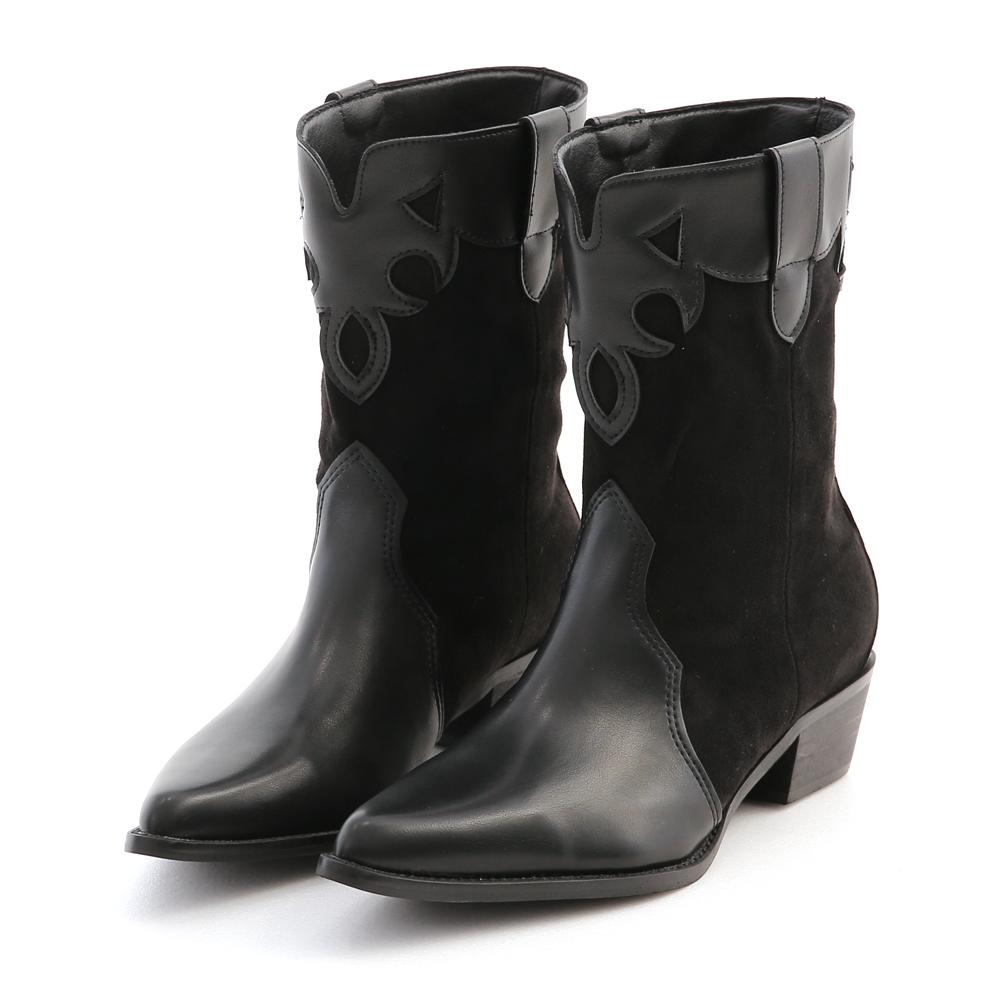 嬉皮摩登.異材質拼接V口牛仔靴 時尚黑