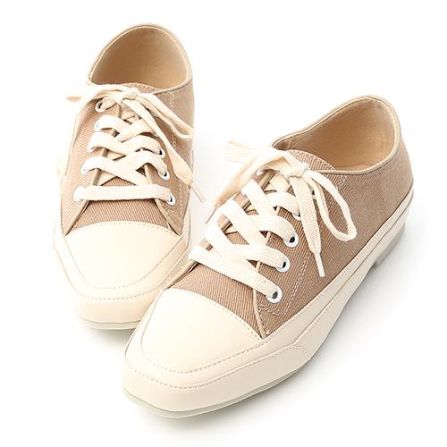 D+AF 自在首選.小方頭多色帆布休閒鞋