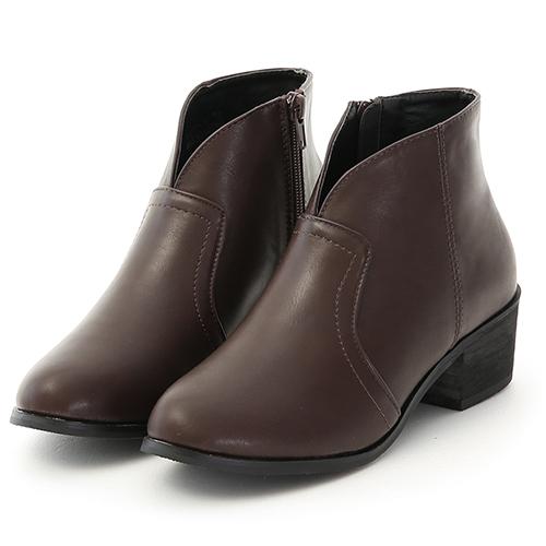 D+AF 自信Look.素面小V口低跟短靴