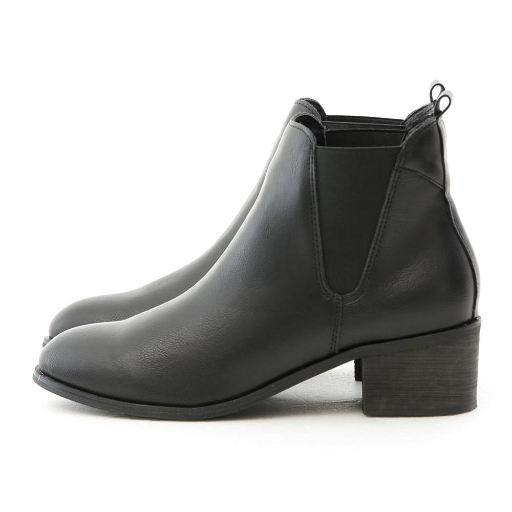 Round Toe Mid Heel Chelsea Boots Black