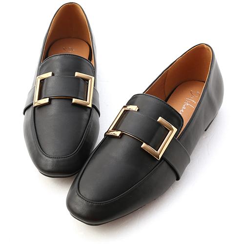 獨特品味.質感方金釦樂福鞋