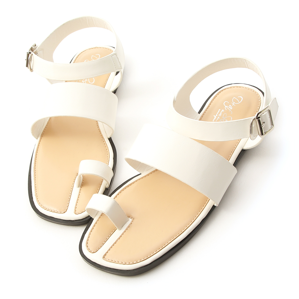 Buckle Wide Strap Toe Loop Sandals White