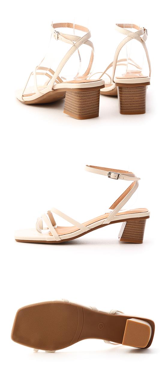 絕美設計.套指細帶木紋跟涼鞋 香草米白